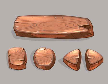 Cartoon wooden buttons vector set