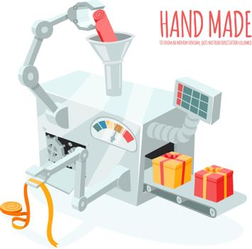 Cartoon robotic production of gift boxes
