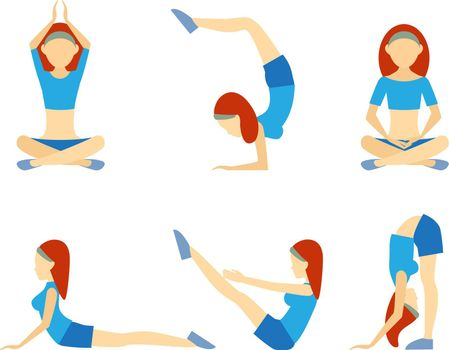 Yoga girl in six positions