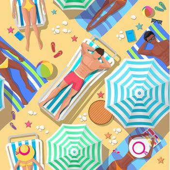Beach holidays seamless background