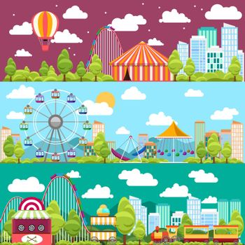 Flat design conceptual city banners with carousels