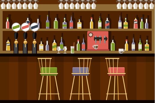 Bar interior in flat style design
