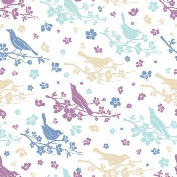 Birds and twigs seamless pattern