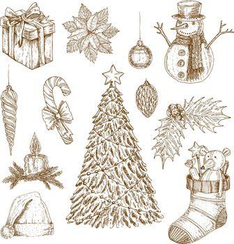 Christmas Hand Drawn Elements Set