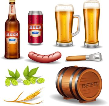 Beer Realistic Icons Collection