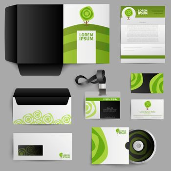 Corporate Identity Eco Design With Green Tree