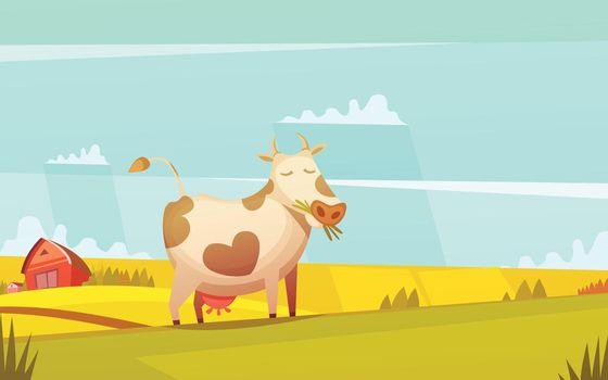 Cow Grazing On Farmland Cartoon Poster