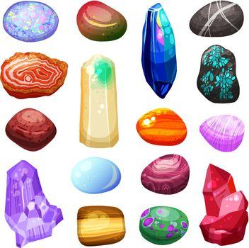 Crystal Stone Rocks Icons Set