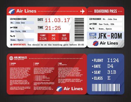 Boarding Pass Design Composition