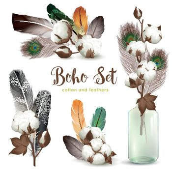 Cotton Bolls Feathers Boho Set