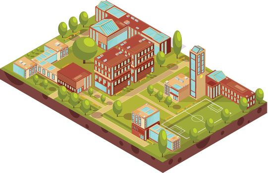 Modern University Buildings Isometric Layout