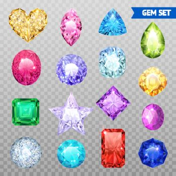 Gemstones Transparent Icon Set