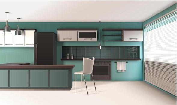 Contemporary Kitchen Interior Composition