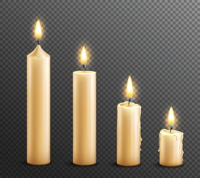 Burning Candles Realistic Transparent Background