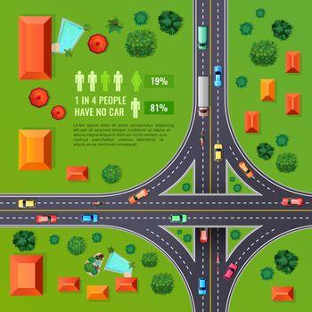Crossroad Top View Illustration
