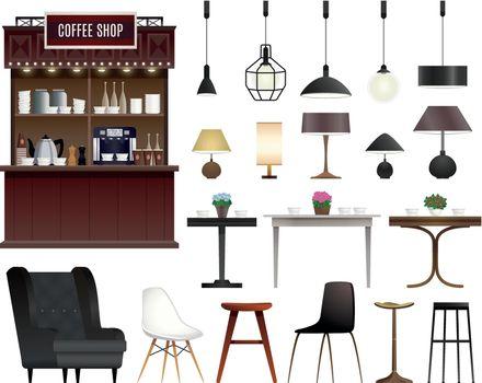Coffee Shop Realistic Set
