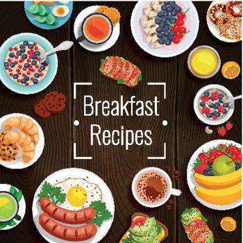 Breakfast Recipes Vector Illustration