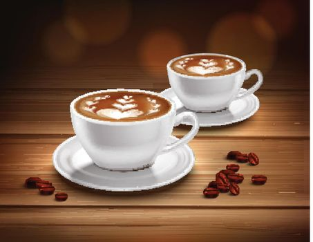 Cups of Cappuccino Coffee Composition
