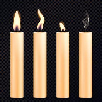 Burning Candles Realistic Set