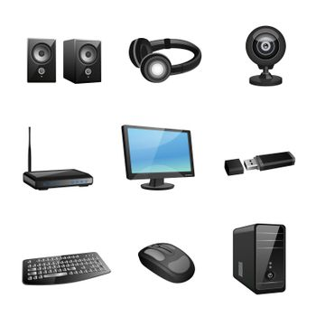 Computer accessories icons black
