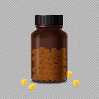 Brown Glass Bottle With Vitamin Dragee