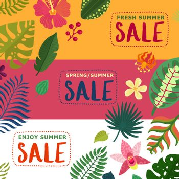 Tropical Plants Banners Set