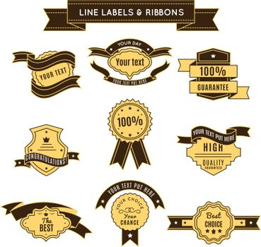 Colored Conceptual Label Set And Ribbons