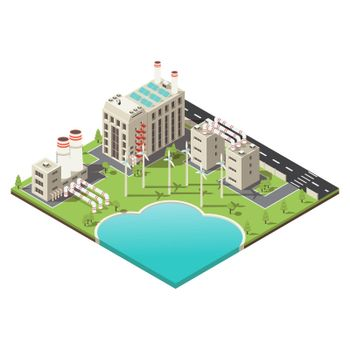 Colored Factory Territory Isometric