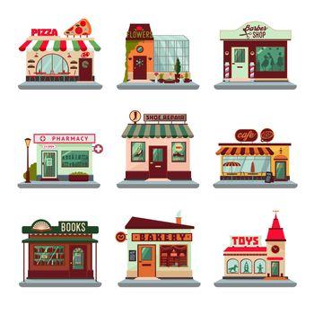 Colorful City Buildings Set