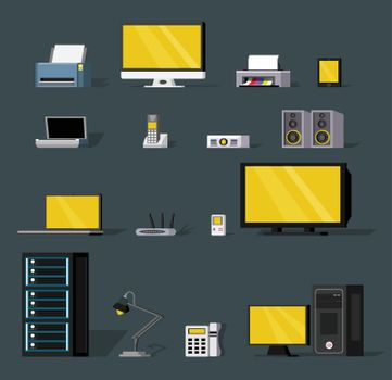Colorful Wireless Technology Objects Set