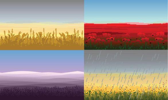 Colorful Beautiful Field Landscapes Set