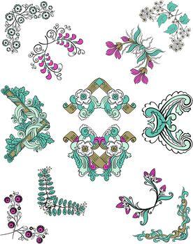 Colorful Sketch Ornamental Floral Corners Set