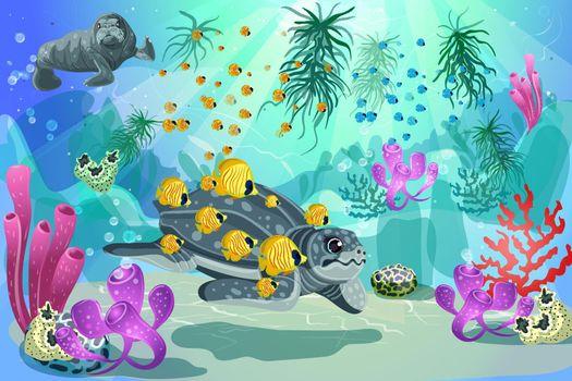 Colorful Underwater Marine Landscape Template