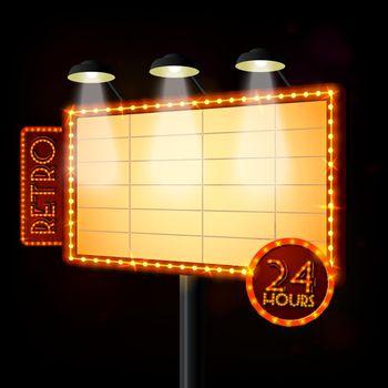 Blank illuminated billboard poster