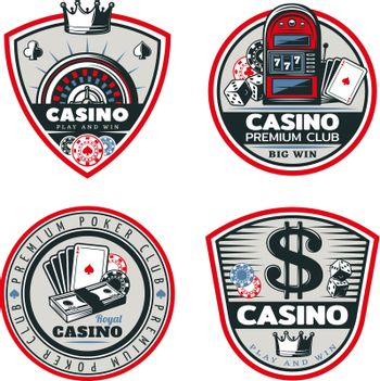 Colored Poker And Casino Emblems Set