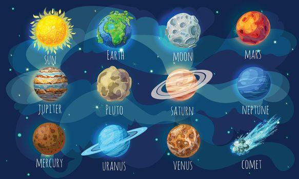 Colorful Space Elements Set