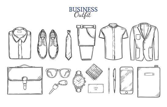 Business Clothing Sketch Set