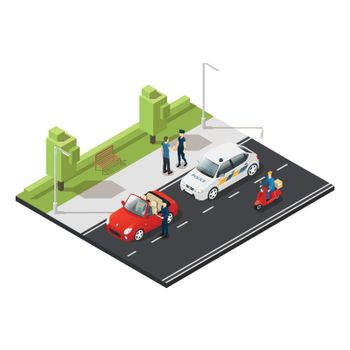 Colorful Isometric Traffic Concept