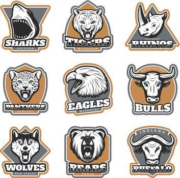 Colorful Team Sport Animals Logotypes Set