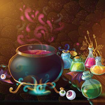 Magic Bottles Of Potion Composition