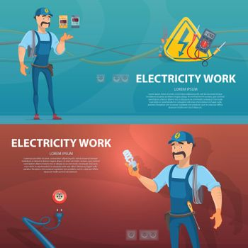 Colorful Electricity Work Horizontal Banners