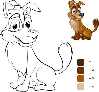 Color dog. Coloring book for preschool children