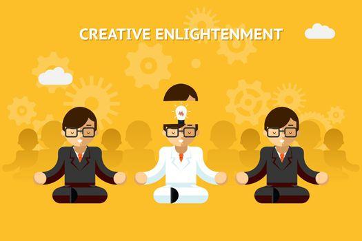Creative enlightenment. Business guru creative idea concept
