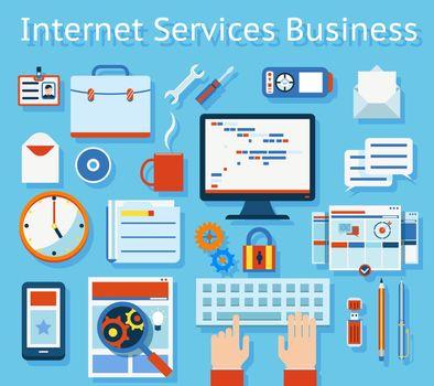 Internet Service Business Concept Graphic Design