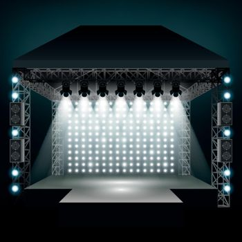 Concert stage with spotlights. Vector illustration