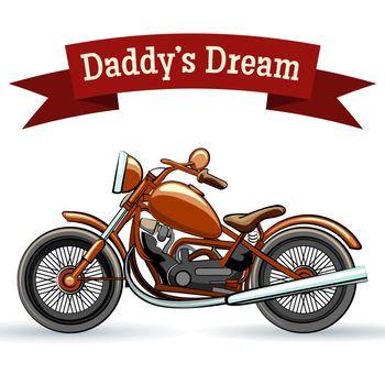 Colored retro motorcycle design