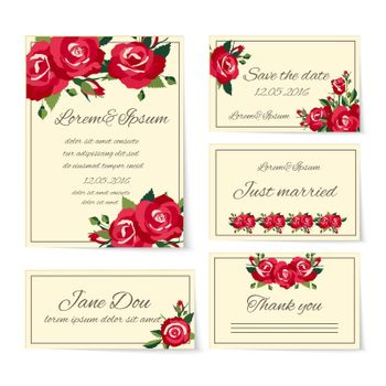 Complete set of wedding card templates covering invitation cards  thank you  just married  name place setting  and save the date decorated with elegant red roses symbolic of love and romance