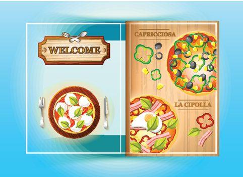 Colorful Pizza Menu Brochure