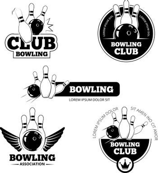 Bowling vector labels, emblems and badges set