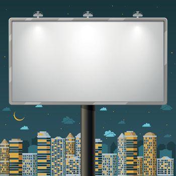 Blank billboard at night time